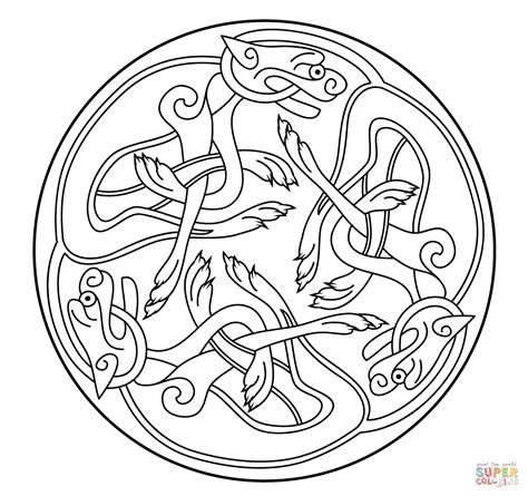 Book Of Kells Coloring Pages celtic ornament design from book of kells coloring page