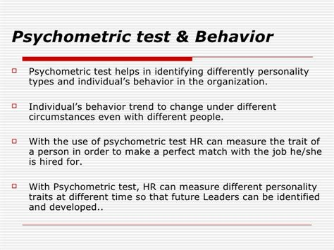 psychometric test psychometric test to understand behavior
