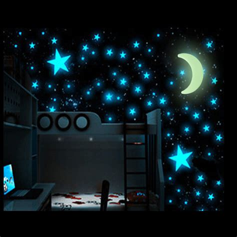 glowing stars for bedroom 100pcs glow in the dark stars moon sticker beautiful 3d