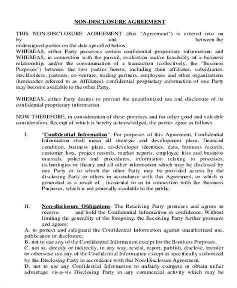 business plan non disclosure agreement template sle business non disclosure agreement 7 exles in