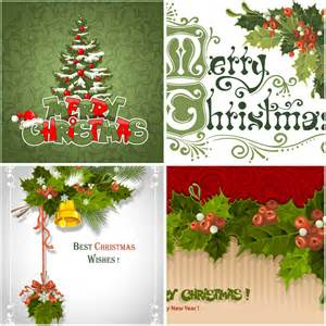 Christmas greeting cards with mistletoe vector free download