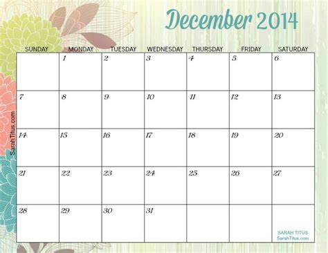 printable monthly calendar november and december 2014 free printable 2014 monthly calendars sarah titus