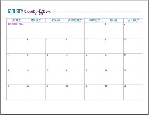 cute printable monthly planner 2015 cute january 2015 calendar printable new calendar