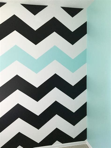 easy tutorial on how to paint chevron stripes black white turquoise