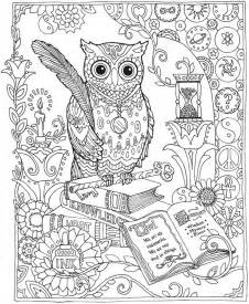 Owl abstract doodle zentangle coloring pages colouring adult detailed
