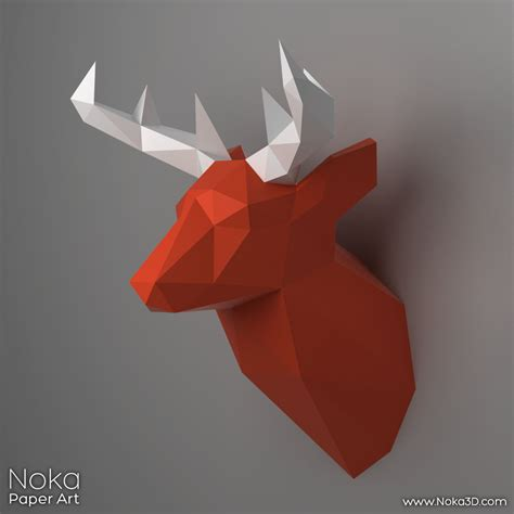 3d Model To Papercraft - deer trophy 3d papercraft model by nokapaperart on etsy