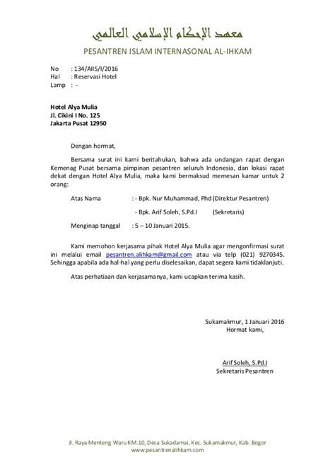 Guarantee Letter Di Hotel Contoh Surat Pemesanan Hotel Brankas Arsip