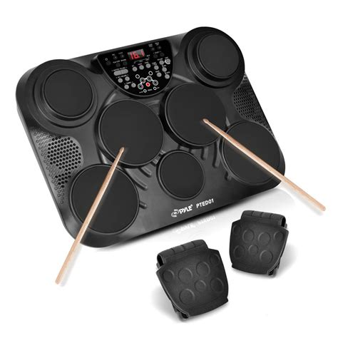 Drum Digital new pyle pted01 electronic table digital drum kit top w 7