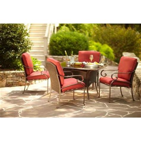 Martha Stewart Patio Dining Set Martha Stewart Living Cedar Island 5 All Weather Wicker Patio Dining Set With Dragonfruit