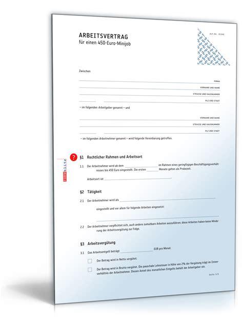 Bewerbung Mini Anschreiben Arbeitsvertrag Minijob