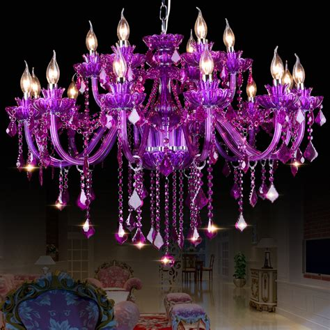 luster kristall high quality purple k9 chandelier lustre