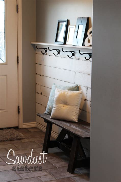 diy entryway diy entry way plank wall video tutorial sawdust sisters