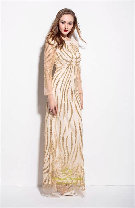 Gold Floor Length Dress by Gold Embellished Sheer Overlay Floor Length Sheath