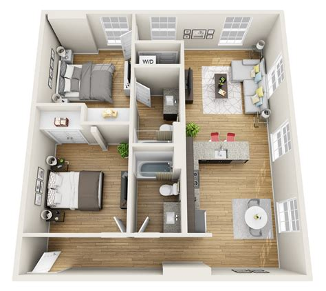 2 bedroom loft magnolia loft 3d floor plan freshome