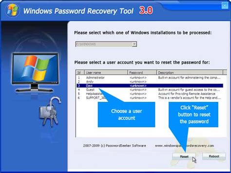 reset user data tool tutorial to reset administrator password with windows