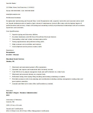 receptionist resume sle entry level 28 images