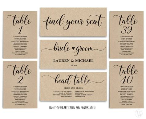 wedding table template rustic wedding seating chart template header signs and