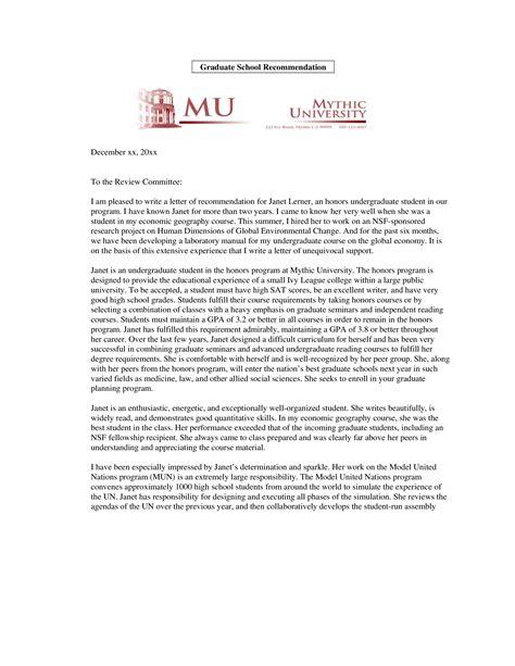 graduate school academic recommendation letter templates