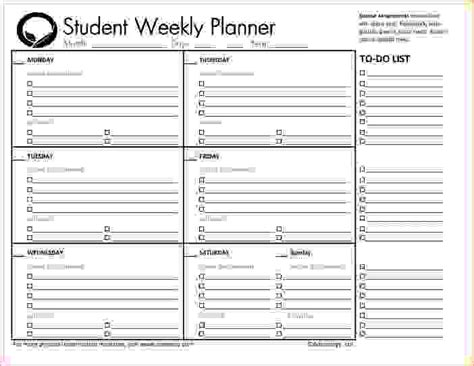 printable student planner weekly planner pages calendar template 2016