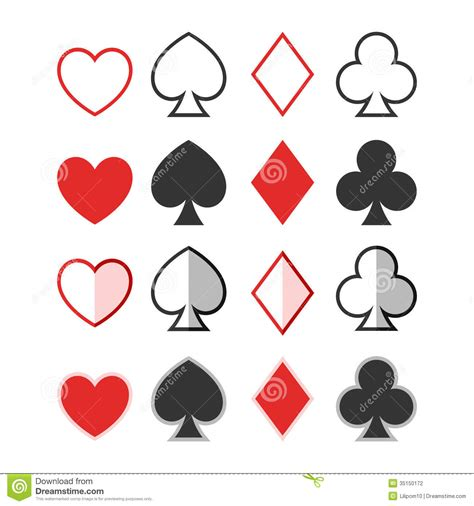 set of hearts clubs spades and dimonds icons ca stock
