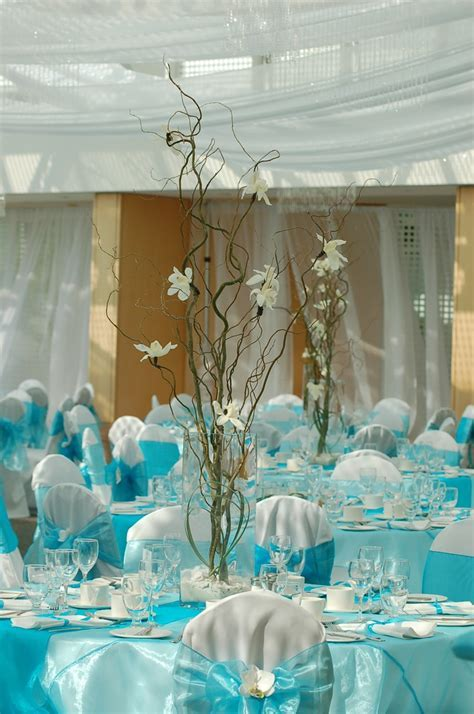 Blue wedding table decor   Wedding Flowers & Decorations
