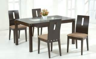 Stylish Dining Table Stylish Wooden And Frosted Glass Top Microfiber Seats Dinette Set And Chairs Modern Dining