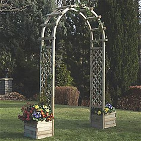 Wooden Garden Arch With Planters by Rowlinson Arch With Planters Timber 1 96 X 0 5 X 2