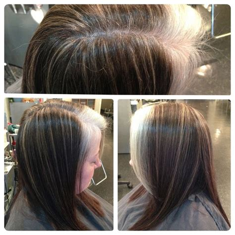frosting dark hair to grown out gray blond pinstripe highlights to camouflage gray growing out