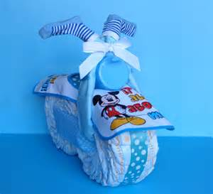 Boy diaper cake mickey mouse bike pampered baby creations