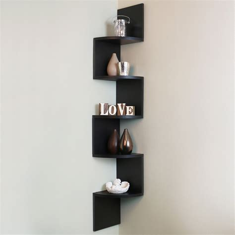 5 Tier Black Wall Mounted Zigzag Corner Floating Shelf Corner Wall Bookshelves