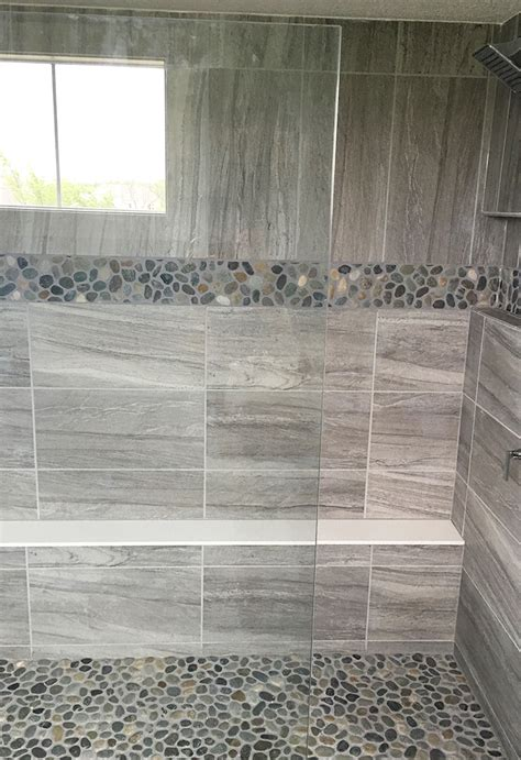 grey pebble tiles bathroom gray stone look large format wall tile with pebble mosaic