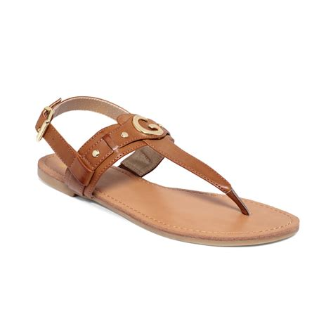 guess flat sandals g by guess s lundon flat sandals in brown