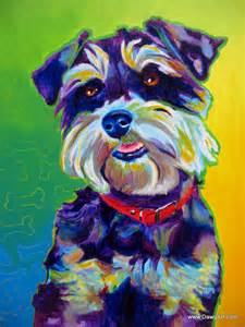 colorful pet portrait miniature schnauzer dog art by