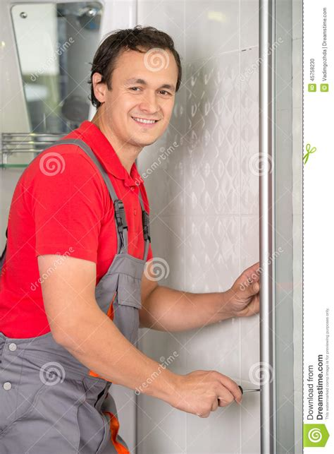Plumber Shower Repair Plumbing Stock Photo Image 45758230