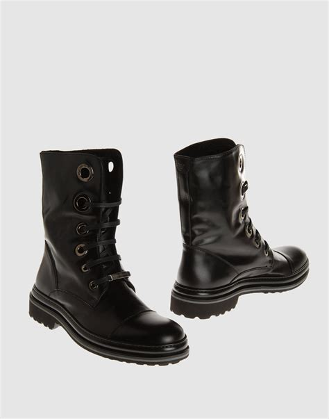 armani boots for emporio armani combat boots in black for lyst