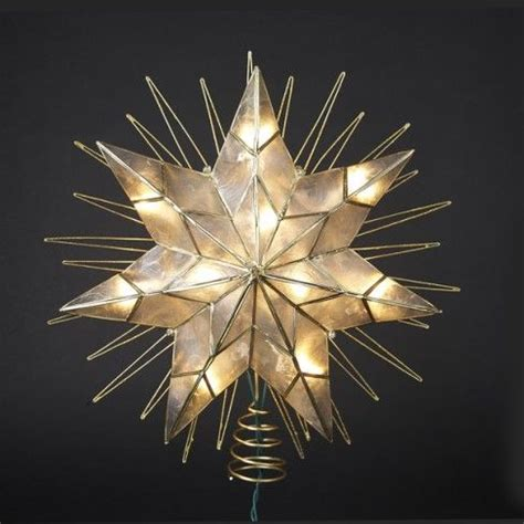 kurt adler 14 quot lighted capiz 7 point star tree topper