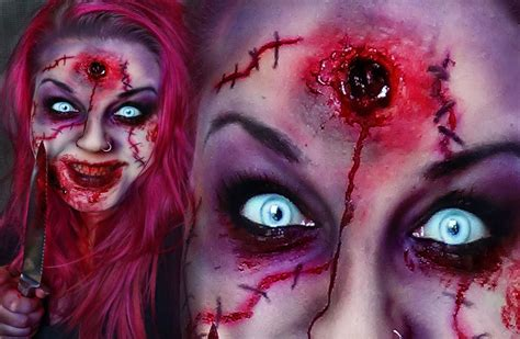 zombie scar tutorial horror make up scary creepy scar zombie headshot tutorial
