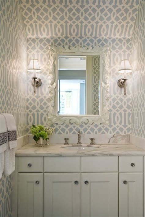 bathrooms kelly wearstler imperial trellis wallpaper