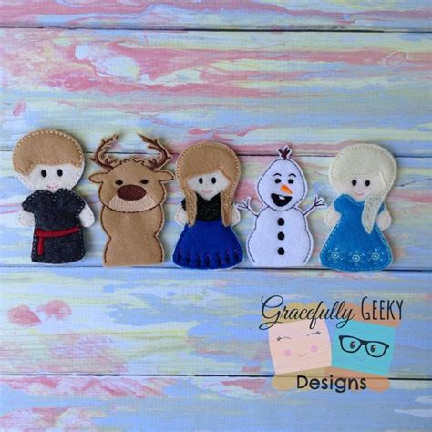 printable frozen finger puppets frozen finger puppet set embroidery design by