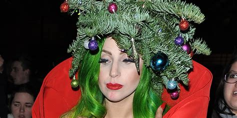 lady gaga dresses up as a christmas tree after capital fm