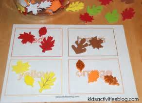 color activities for toddlers printable color activities and sorting activity with fall