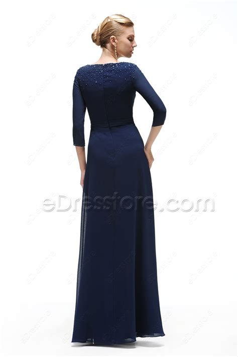 Who Wore It Better Karta Jeweled Waist Dress by Navy Blue Modest Prom Dress With Sleeves Beaded Neckline
