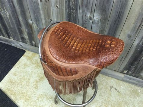Motorcycle Seat Leather Upholstery by American Hornback Alligator With Distressed Leather