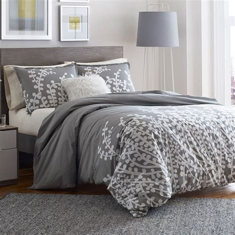 gray quilt bedding city scene branches gray comforter and duvet set from
