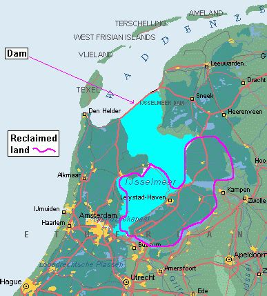 netherlands map reclaimed land sea levels