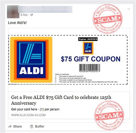 Facebook Free Gift Card Scams - get a free 75 aldi gift card facebook scam hoax slayer