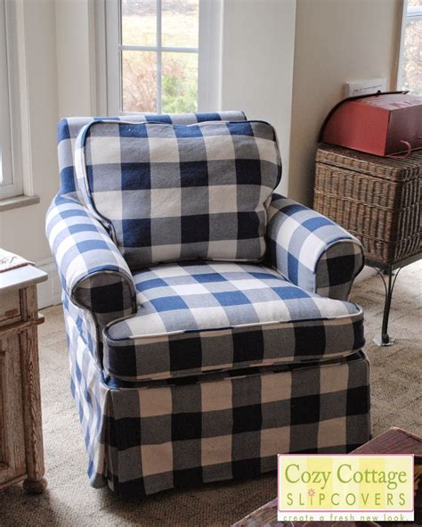 material for slipcovers cozy cottage slipcovers blue and white buffalo check