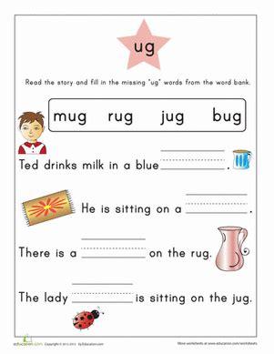 Word Family Story Ug Worksheet Education Com