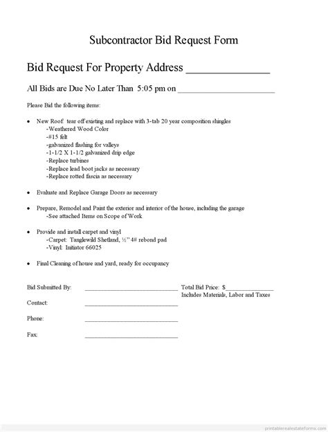 subcontractor bid form template printable subcontractor bid request form and standardized