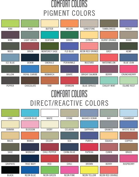 Comfort Colora by Comfort Colors Color Chart Colors